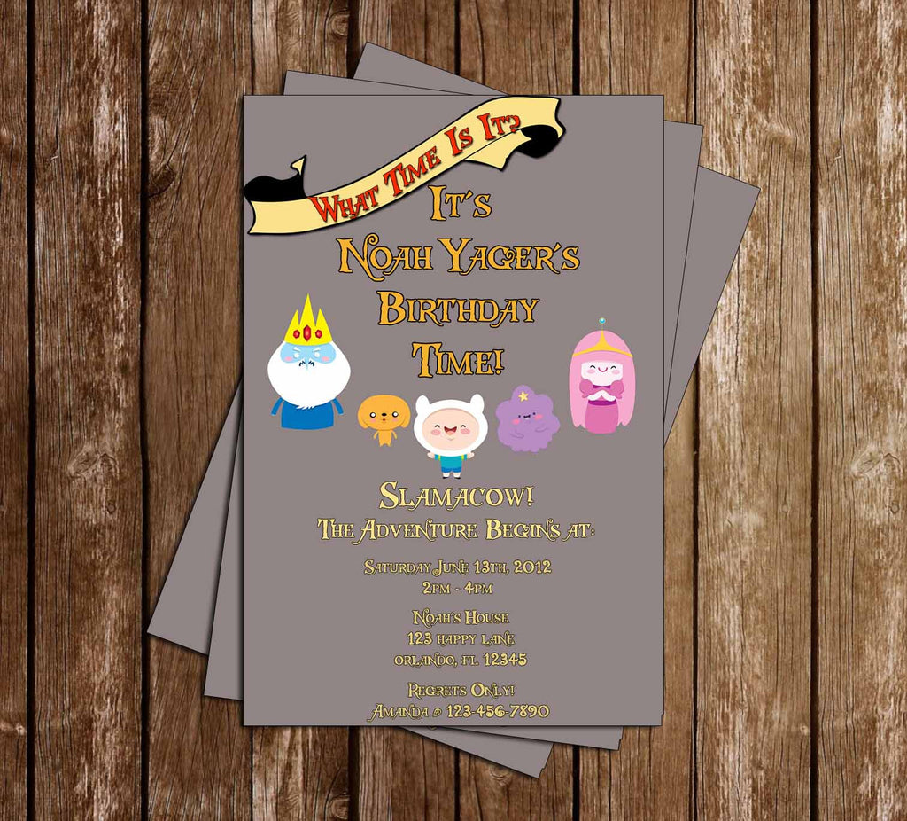 Adventure Time Show Grey Birthday Invitation - YOU PICK AMOUNT PRINTED