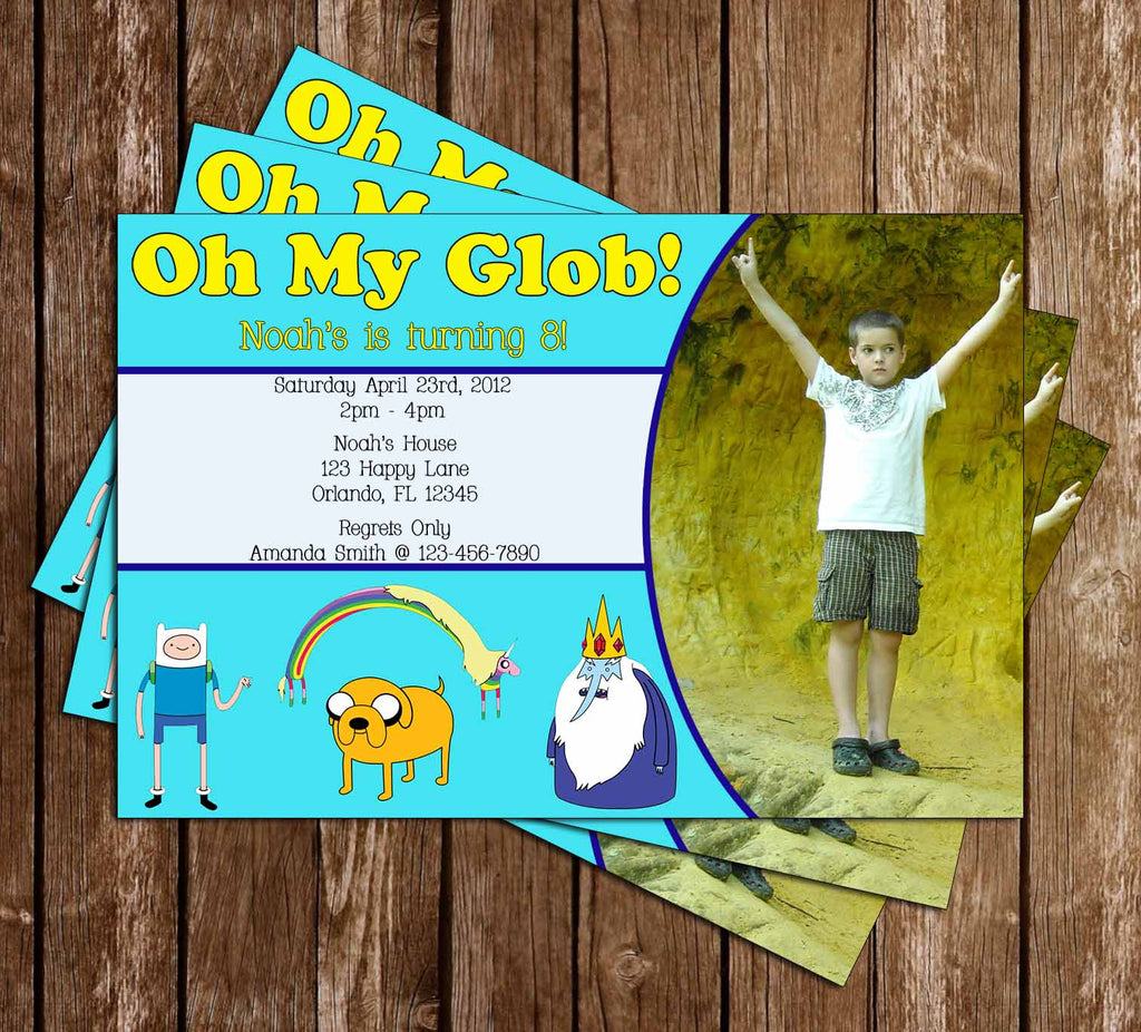 Adventure Time Glob Birthday Invitation with Photo of Your Child - 15 PRINTED INVITATIONS