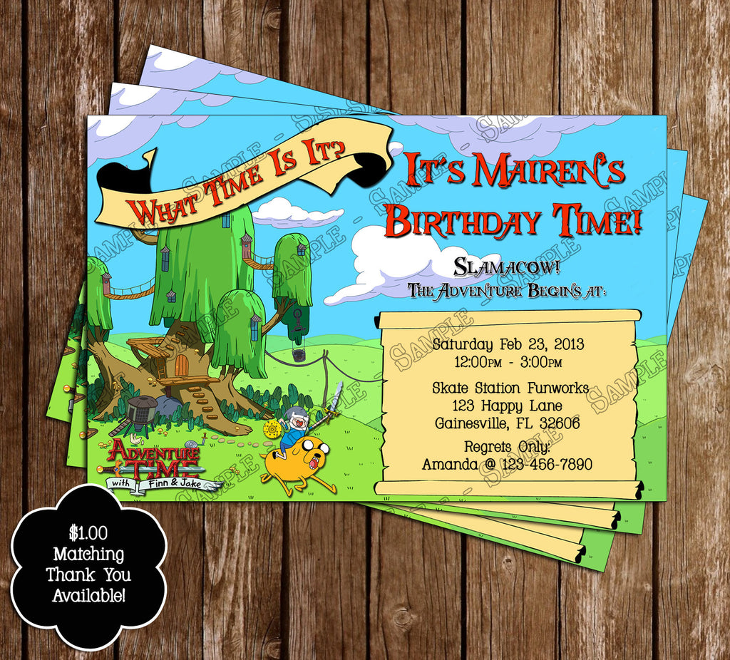 Novel Concept Designs Adventure Time Show Birthday Invitation