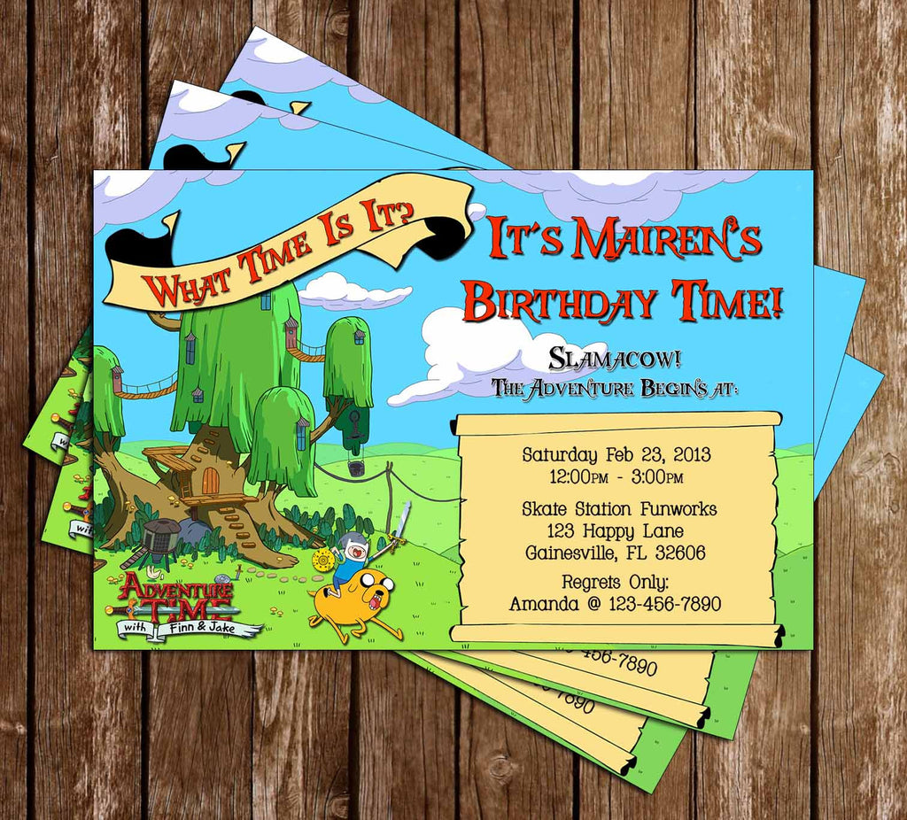 Novel Concept Designs Adventure Time Birthday Invitation 15 Pack