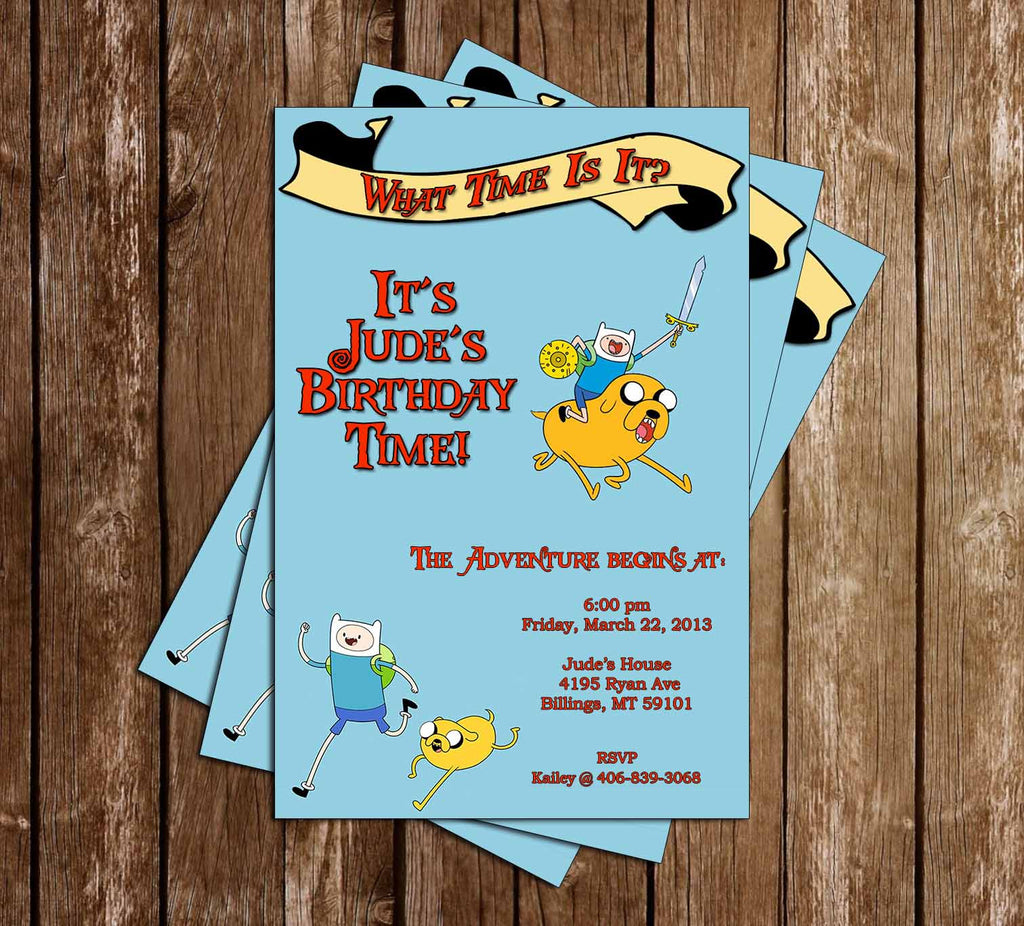 Adventure Time Birthday Invitation - 15 Printed Invitations Pack (Blue)