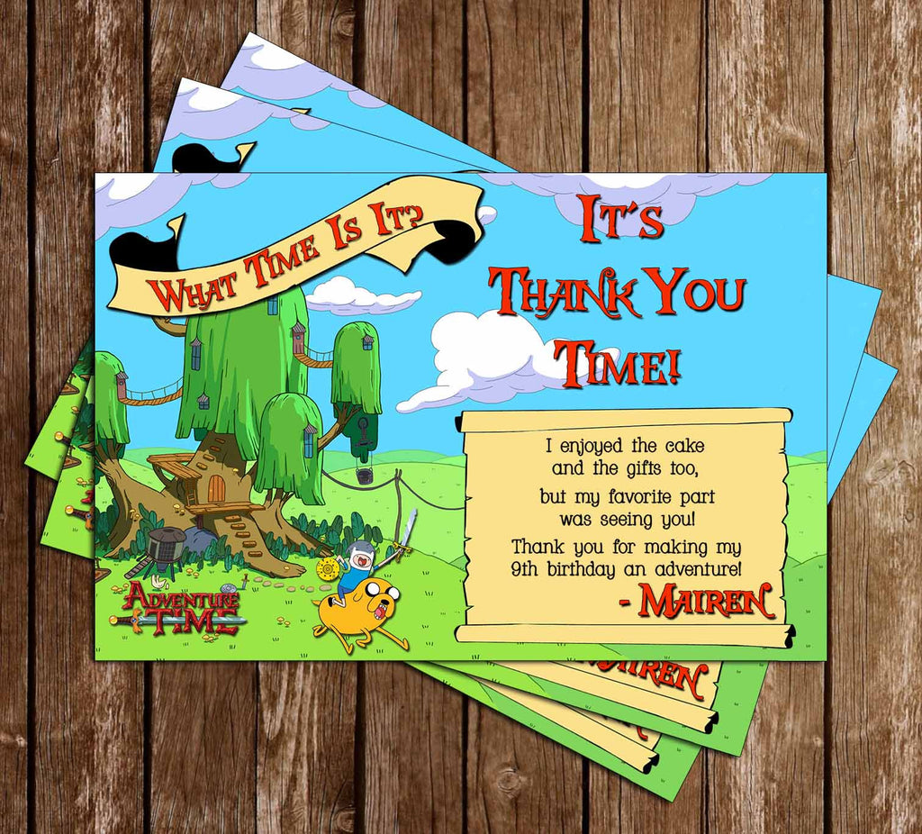 Adventure Time Show Thank You Card (Scroll) - 15 PACK PRINTED INVITATIONS