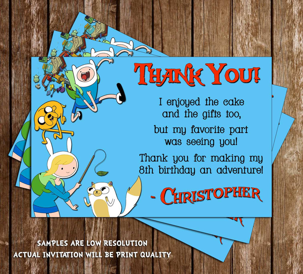Adventure Time Thank You Card (Blue) - DIGITAL FILE
