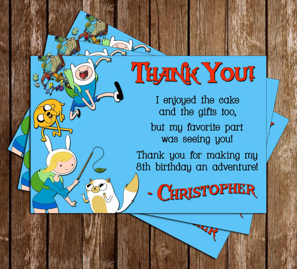 Adventure Time Thank You Card (Blue) - 15 PRINTED INVITATIONS
