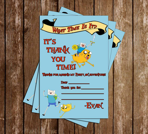 Adventure Time Show Thank You Card (Blue) - 15 PRINTED INVITATIONS
