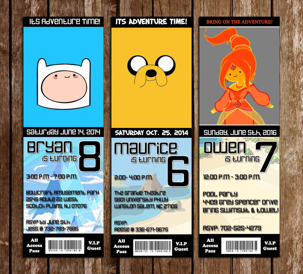 Novel Concept Designs - Adventure Time Birthday Party Ticket ...