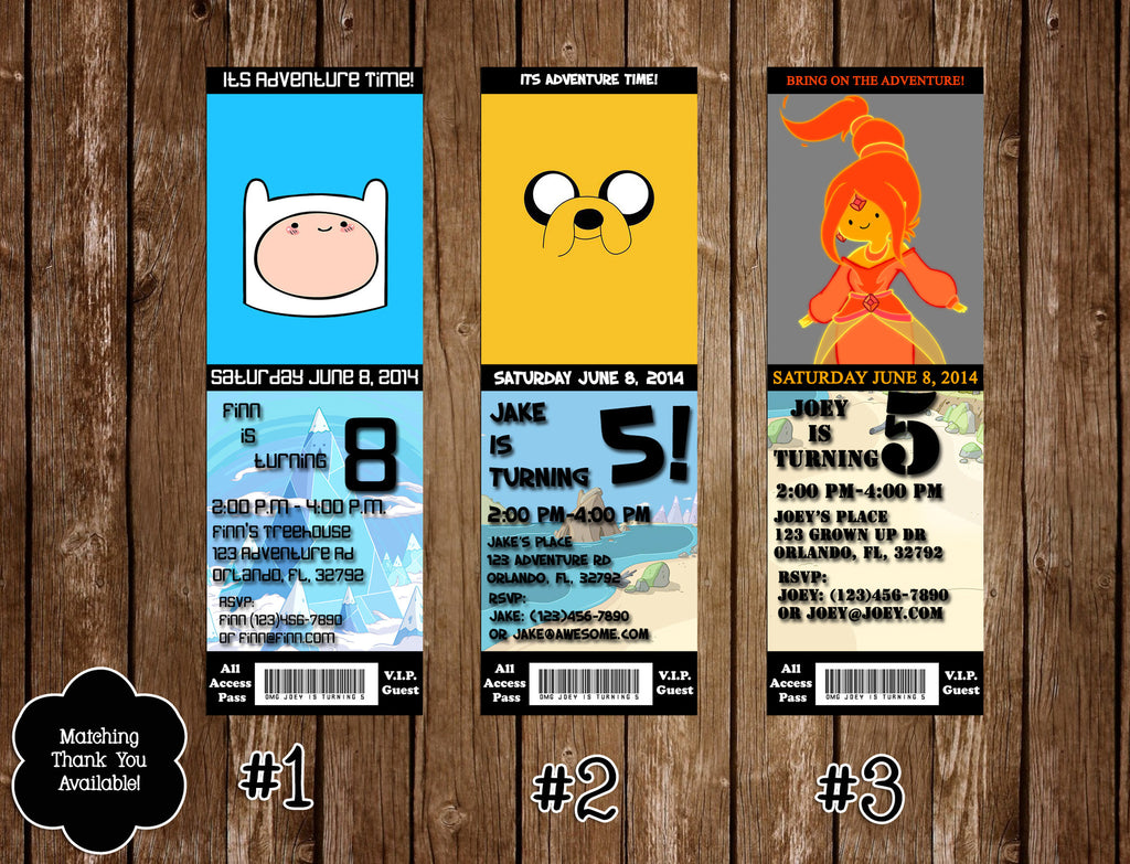 Novel Concept Designs - Adventure Time Show Birthday Party Ticket ...