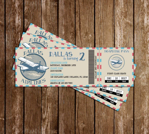 Vintage - Airplane Ticket  - Birthday - Invitation