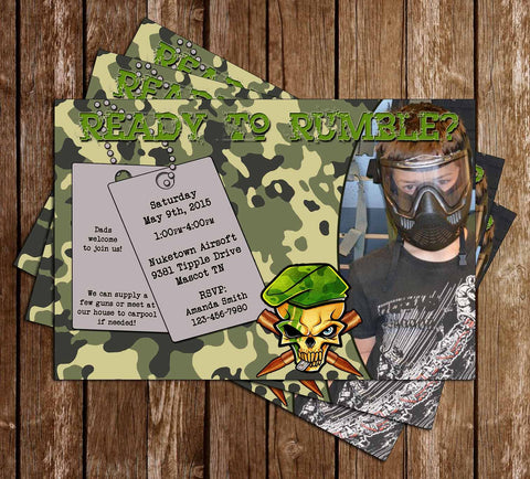 Airsoft / Paintball Birthday Party Invitation - PRINTED INVITATIONS