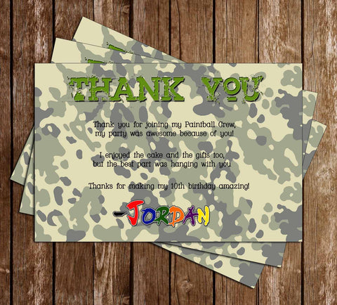 Airsoft / Paintball / Laser Tag Birthday Party Thank You Card - PRINTED INVITATIONS
