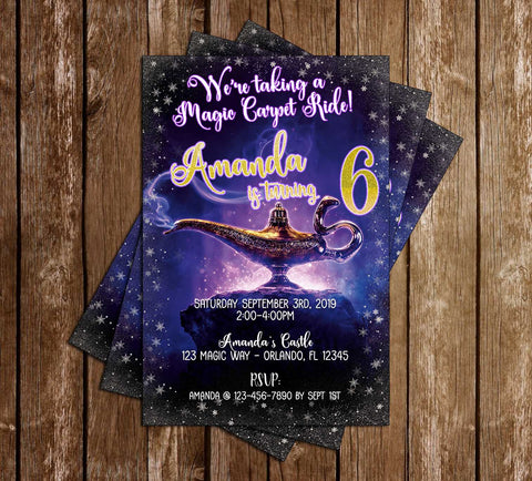 Disney - Aladdin - Lamp - Birthday Invitation