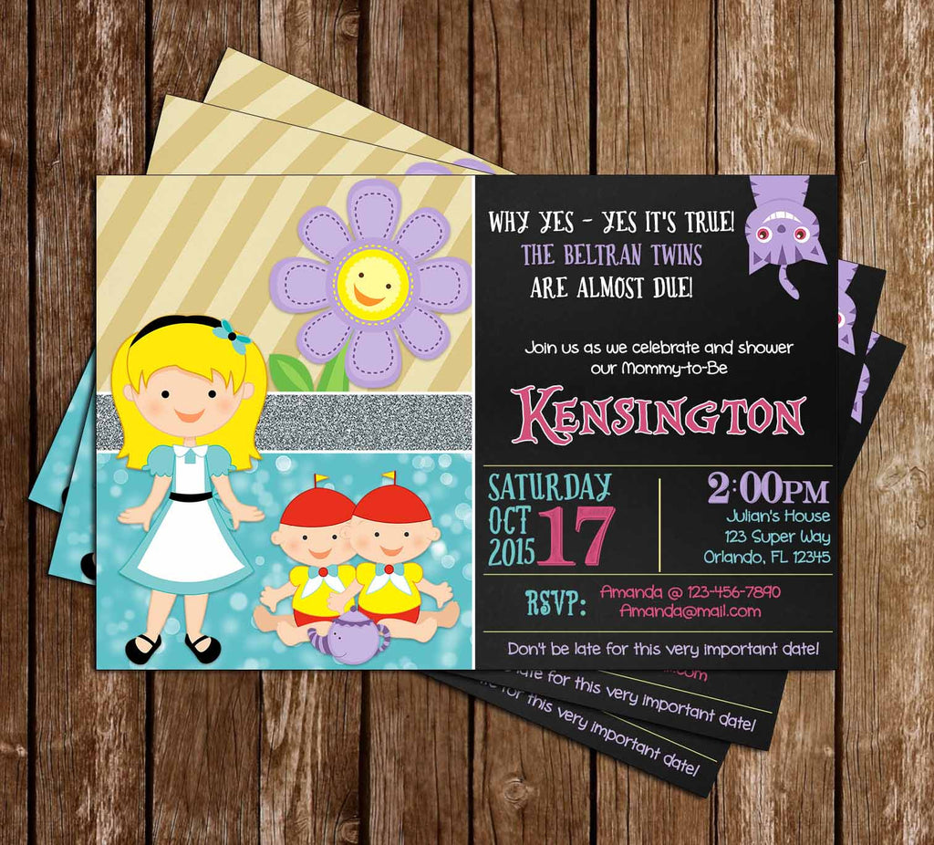 Alice in Wonderland - Twins - Baby Shower Invitation - PRINTED INVITATIONS