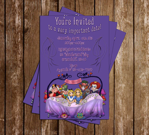 Alice in Wonderland Movie Birthday Tea Invitation