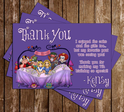 Alice in Wonderland Birthday Tea Thank You Card - DIGITAL FILE