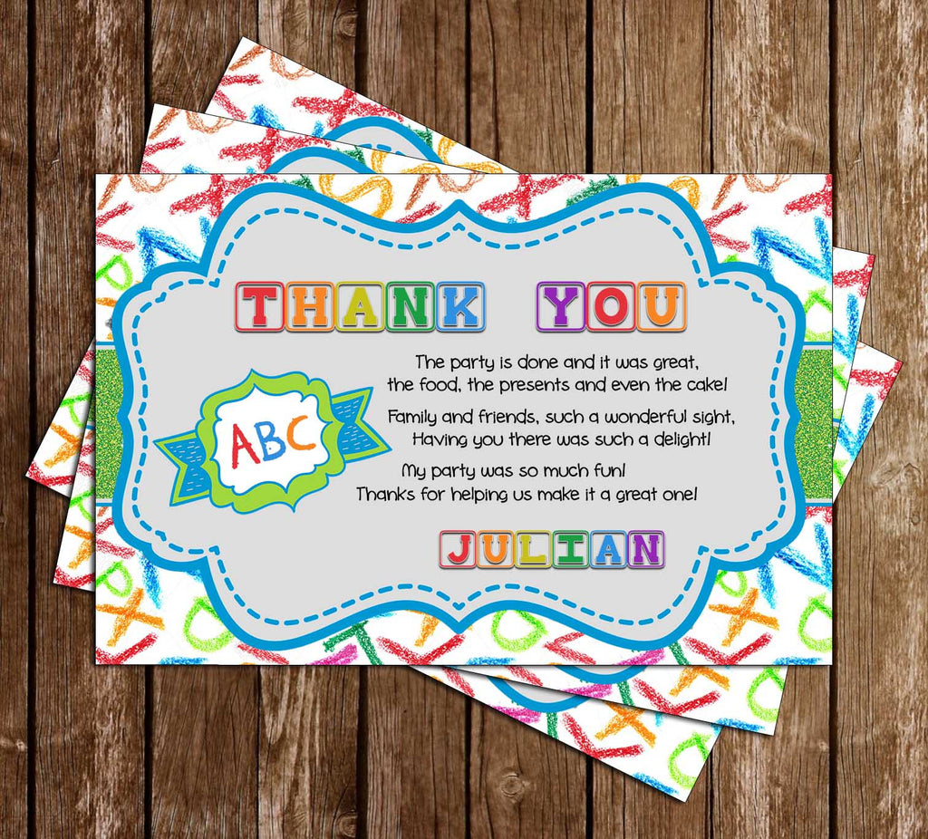 ABC and 123 - Alphabet - Birthday Party - Thank You Card