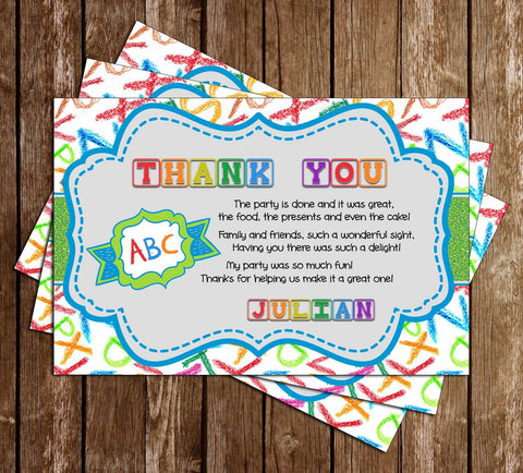 ABC's - Alphabet - Birthday Party - Thank You Card