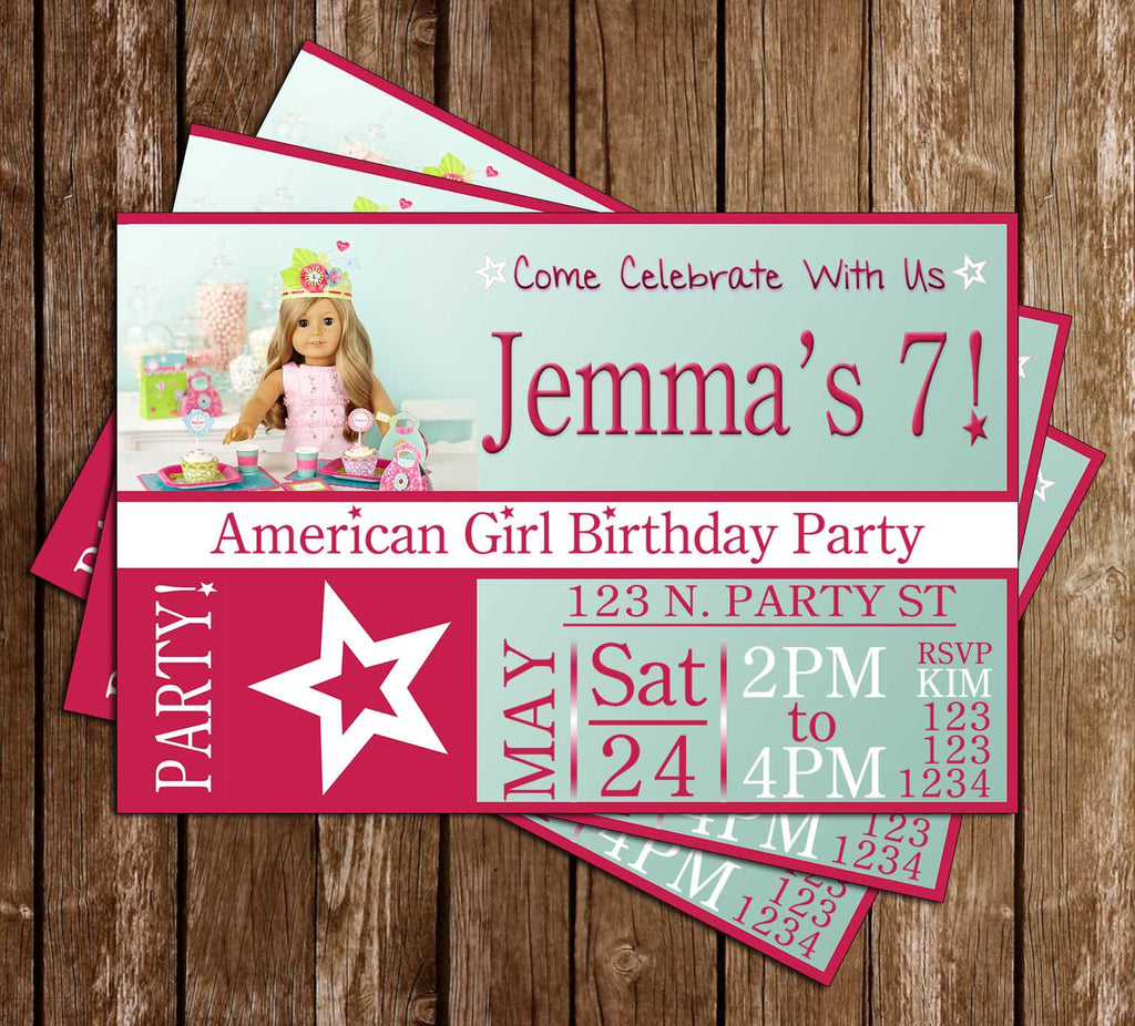 America Girl - Dolls - Birthday Party Invitation