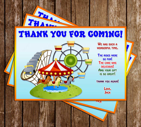 Amusement Park - Birthday Party - Thank You Card