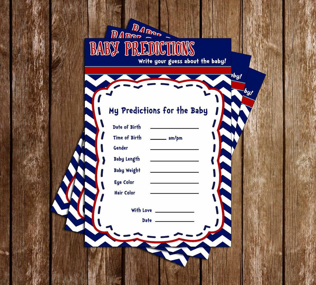 AHOY it's a BOY - Navy Sailor - Baby Shower - Baby Predictions Card