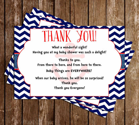 AHOY it's a BOY - Navy Sailor - Baby Shower Thank You