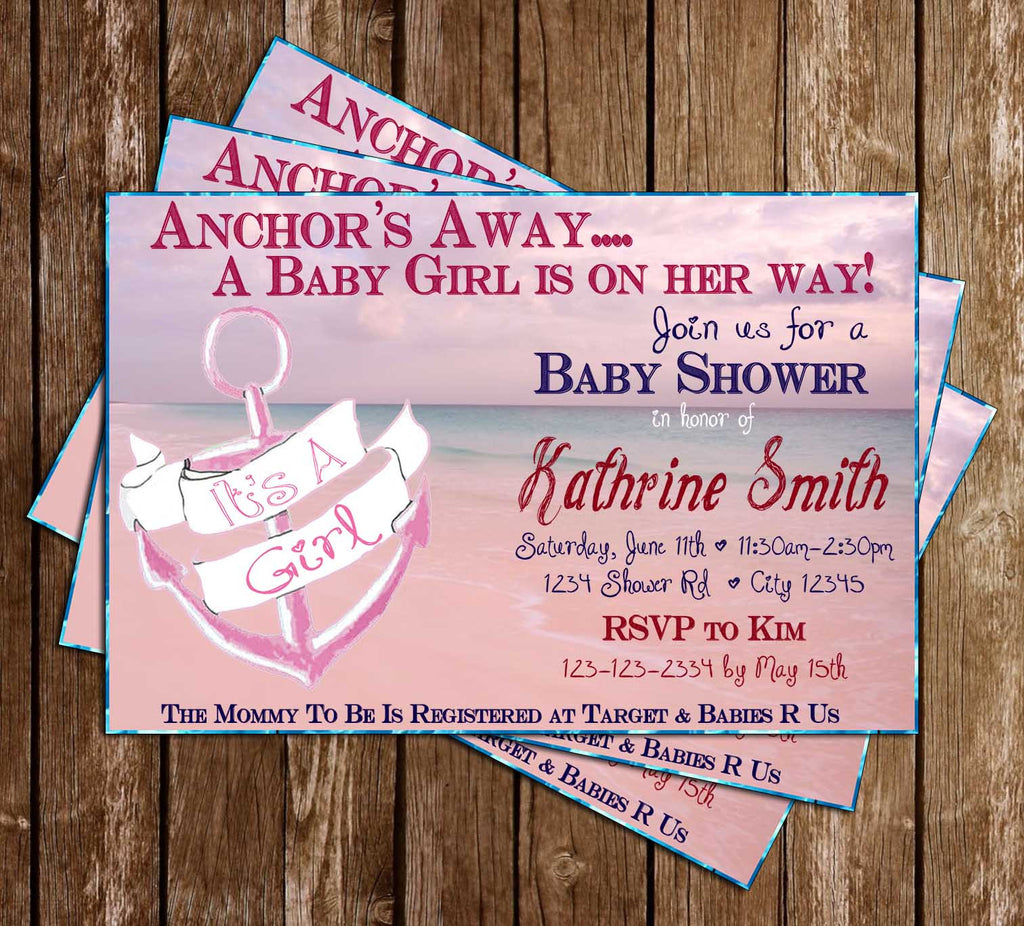Anchors Away - It's a Girl - Baby Shower Invitation