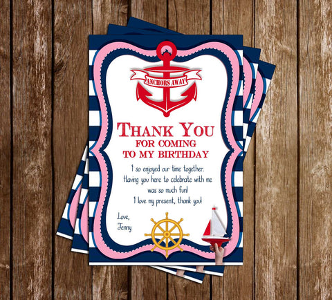 Anchors Away - Sailing - Girls - Birthday Party - Thank You Card