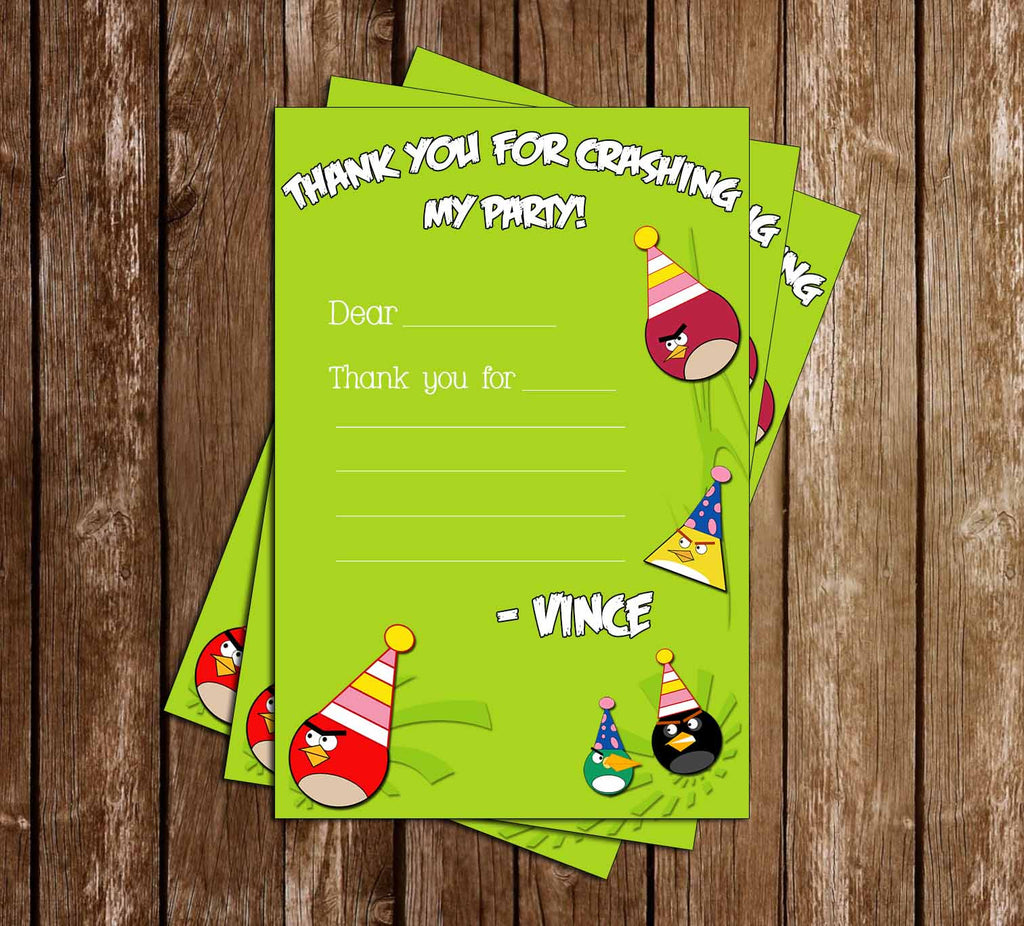 Angry Birds Inspired Birthday Thank You Card - PRINTED INVITATIONS