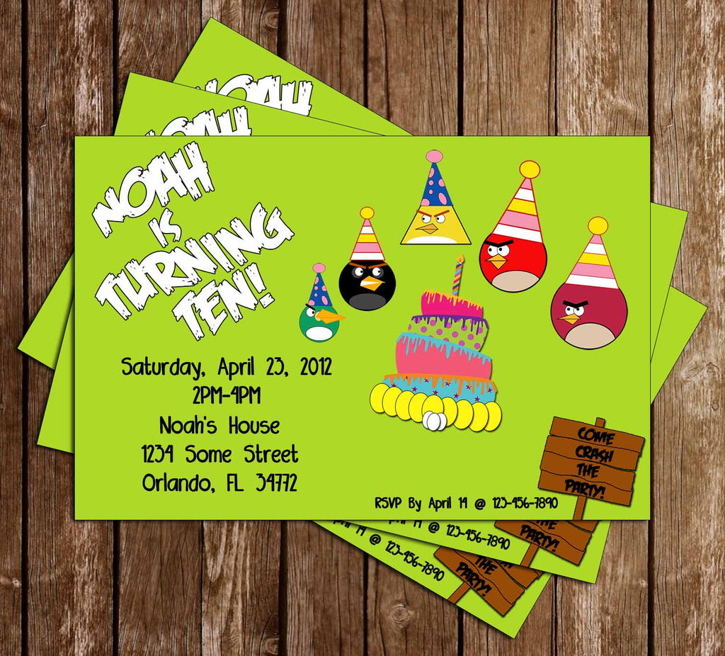 Angry Birds Inspired Birthday Invitation - PRINTED INVITATIONS