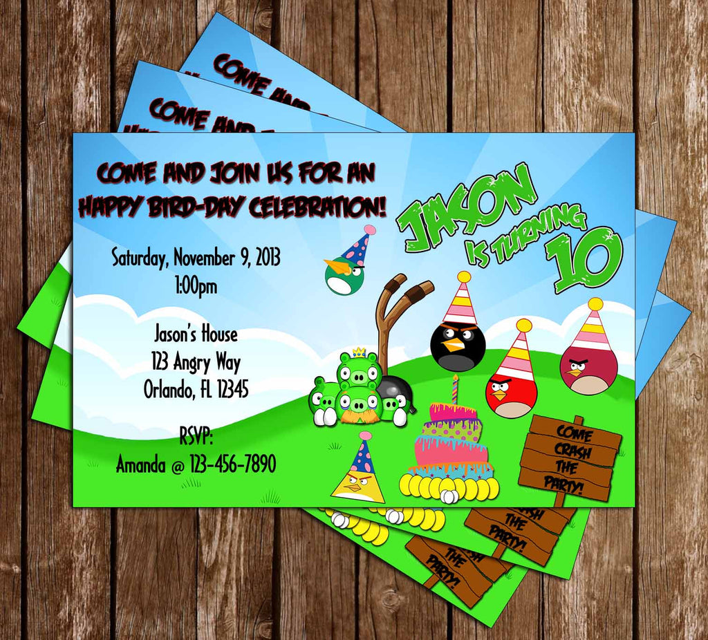Angry Birds Angry Pigs Inspired Birthday Invitation - PRINTED INVITATIONS
