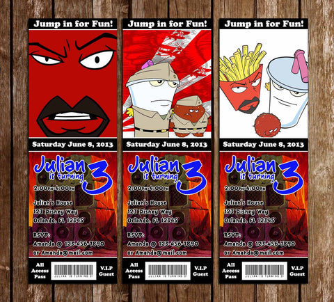 Aqua Team Hunger Force Birthday Party Ticket Invitations- PRINTED INVITATIONS