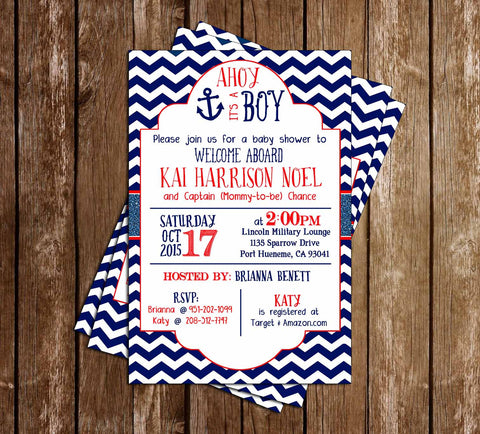 AHOY it's a BOY - Navy Sailor - Baby Shower Invitation -