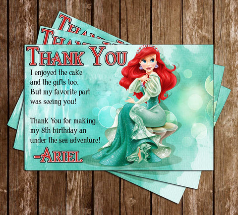 Ariel The Little Mermaid Thank You Card (Teal) - PRINTED CARDS
