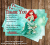 Princess Ariel Little Mermaid Thank You Card (Teal) - DIGITAL FILE