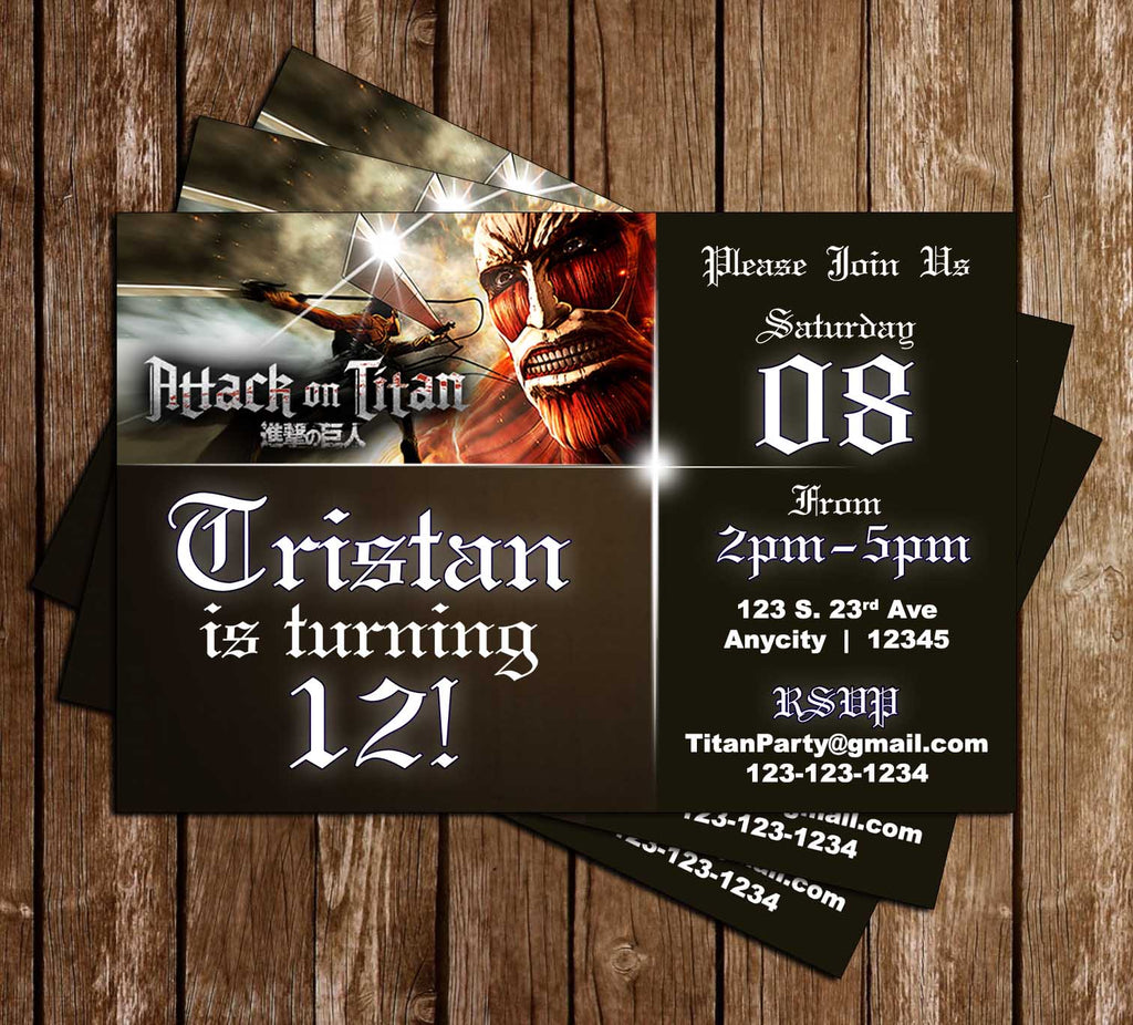 Novel concept designs attack on titan anime birthday party attack on titan anime birthday party invitation filmwisefo
