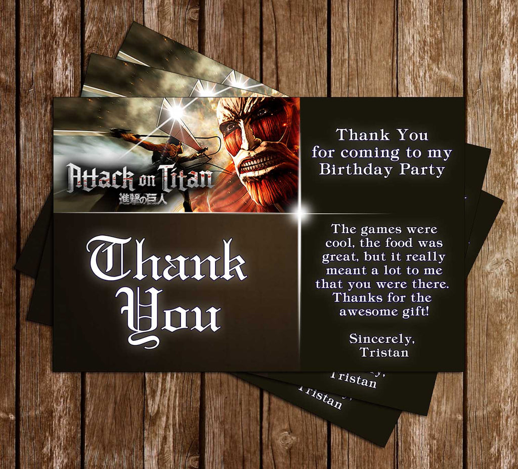 Attack on Titan - Anime - Birthday Party - Thank You Card