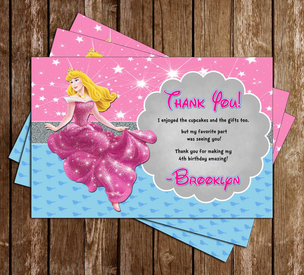Disney Princess Aurora - Sleeping Beauty - Birthday Thank You Card (PINK)