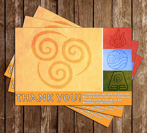 Avatar The Last Airbender Thank You Card - PRINTED CARDS