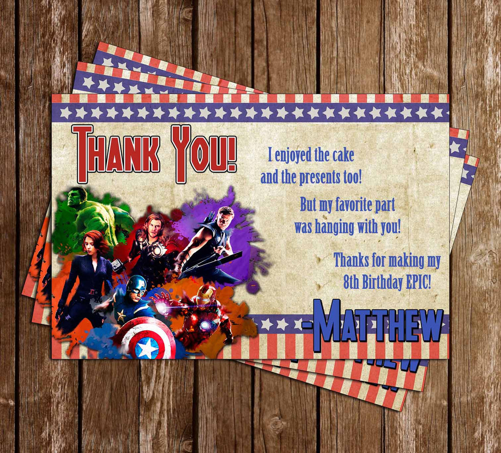 Avengers Birthday Thank You Card - DIGITAL FILE