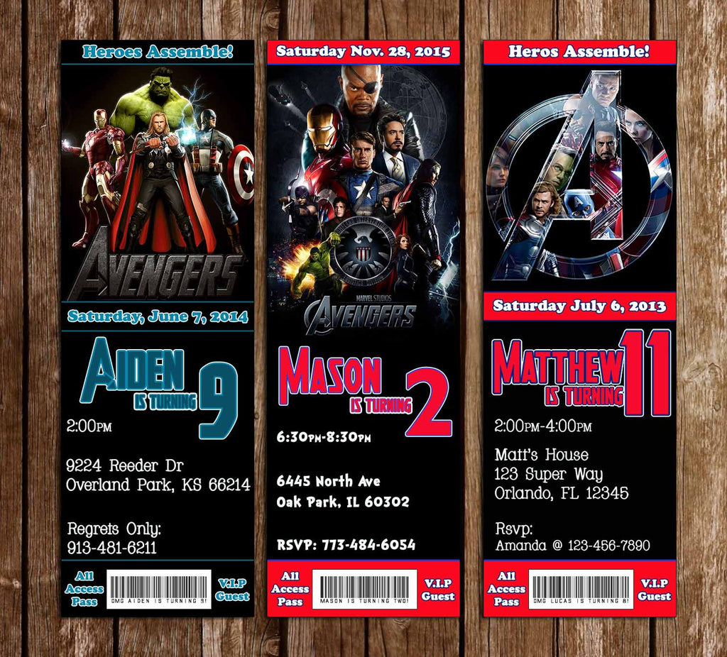 Marvel The Avengers Movie Birthday Ticket Invitation