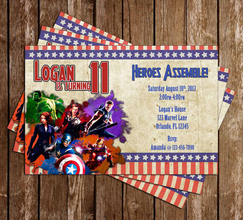 Avengers Movie Birthday Invitation - PRINTED INVITATIONS