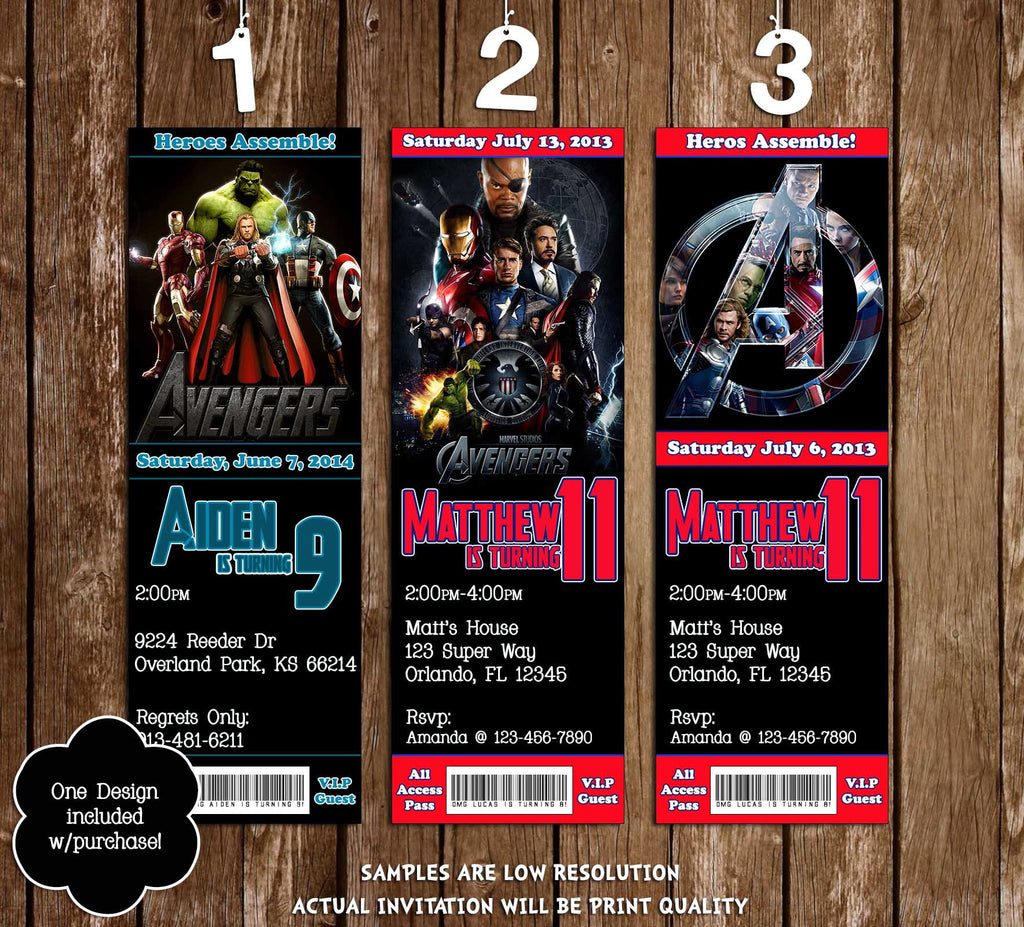Novel Concept Designs Marvel The Avengers Movie Birthday Ticket – Ticket Invitation