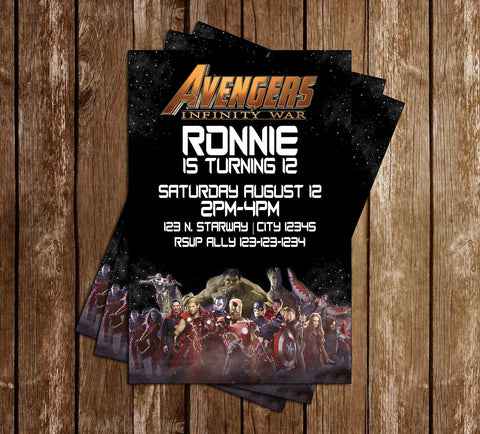 Avengers - Infinity War - Birthday Party -Invitation
