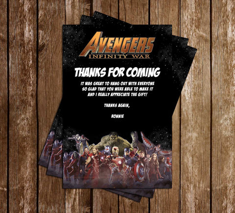 Avengers - Infinity War - Birthday Party - Thank You Card
