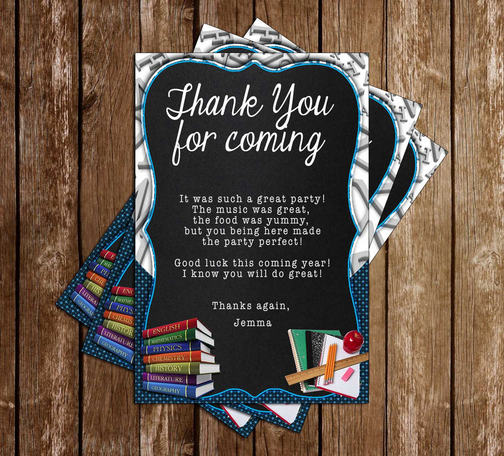 Back to School - Chalkboard - Birthday Party - Thank You Card