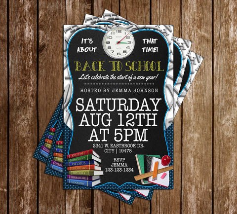 Back to School - Chalkboard - Birthday Party - Invitation