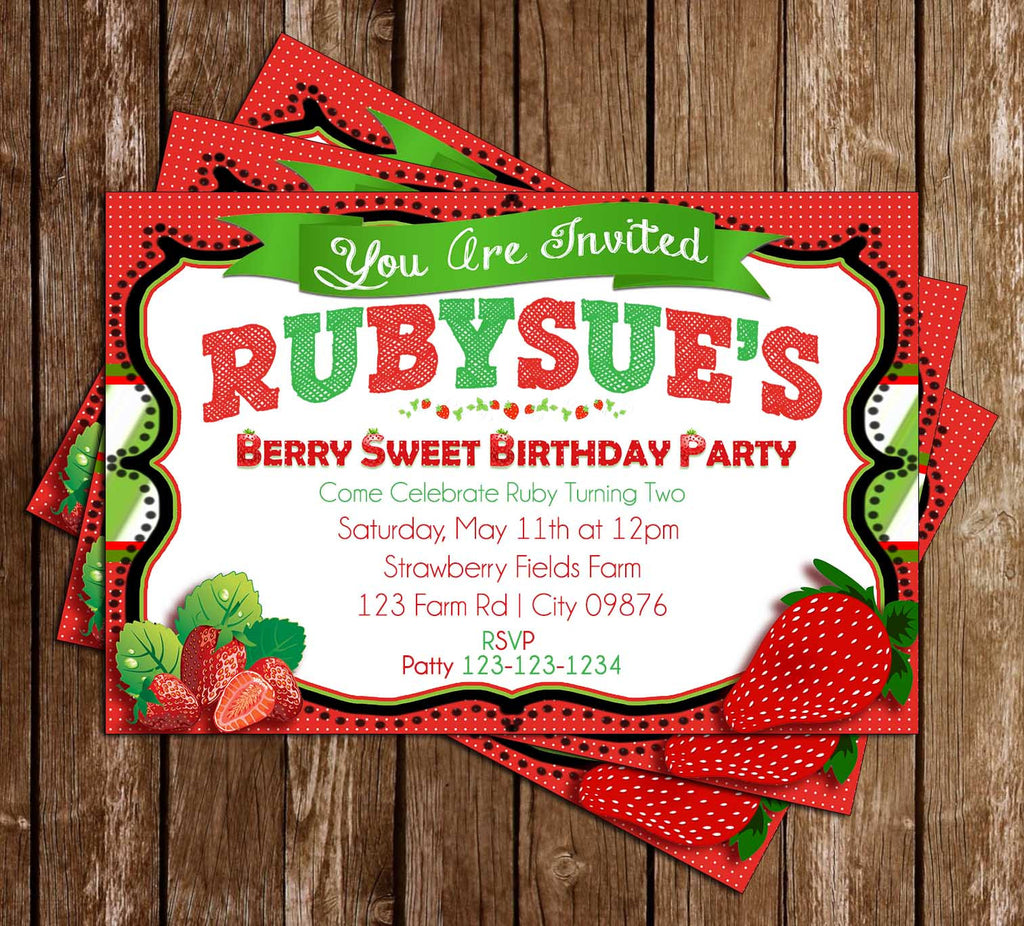 Berry Sweet - Strawberry - Birthday Party - Invitation