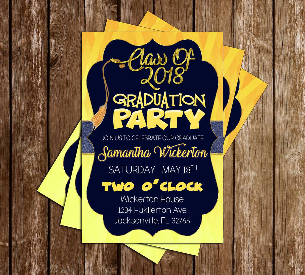 Blue and Yellow - Graduation Invitation / Announcement
