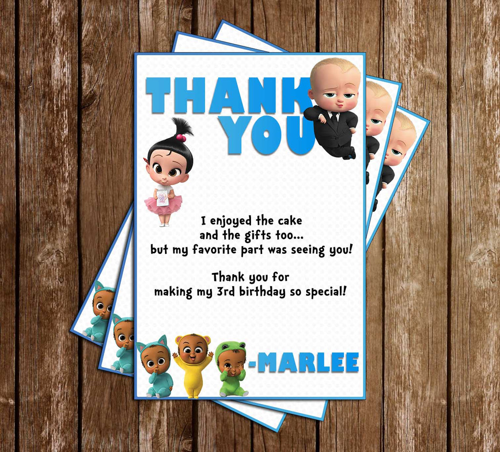 Novel Concept Designs The Boss Baby Birthday Party Thank You Card