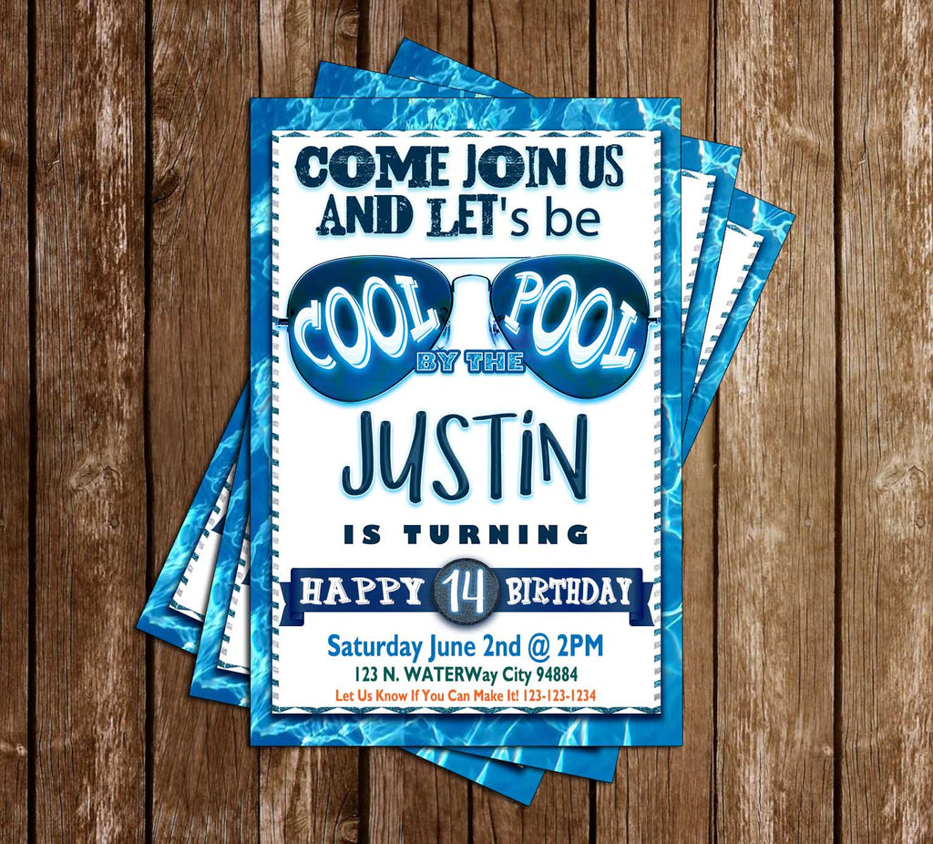 Pool Party -Boys - Swimming - Birthday Party - Invitation