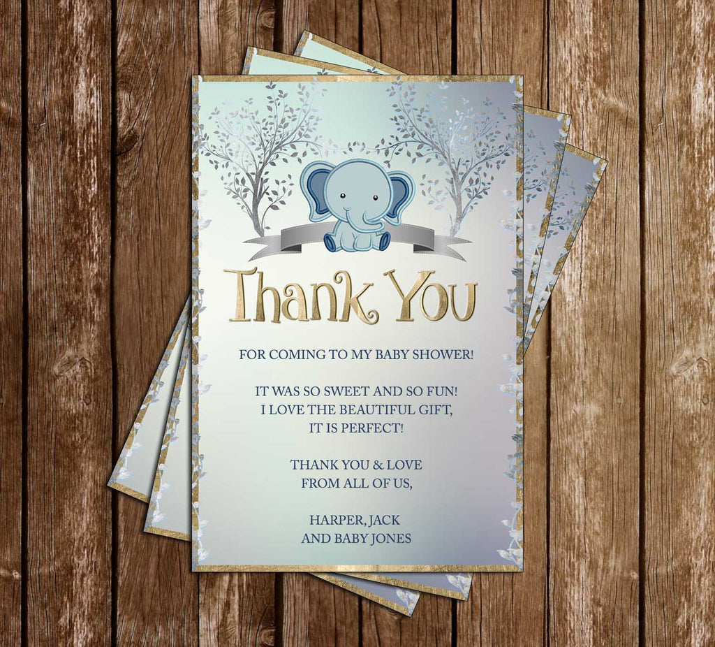 Baby Elephant & Mother - Boy - Baby Shower - Thank You Card
